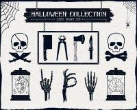 Ręki rysować textured Halloweenowe ikony ustawiać Zdjęcia Royalty Free