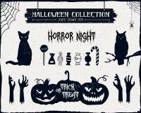Ręki rysować textured Halloweenowe ikony ustawiać Zdjęcia Stock