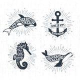 Ręki rysować textured rocznik etykietki ustawiają z wektorowymi ilustracjami Zdjęcia Royalty Free