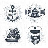Ręki rysować textured rocznik odznaki ustawiać Fotografia Royalty Free