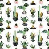 Ręki rysować tropikalne dom rośliny Skandynaw stylowa ilustracja, wektorowy bezszwowy wzór dla tkaniny, tapety lub opakunku papie Fotografia Stock
