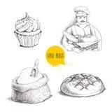 Ręki rysować ustalone piekarni ilustracje Piekarz z piekarnianym koszem świeży chleb, chlebowy bochenek, babeczka i worek z, mąką ilustracji
