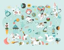 Ręki rysować wektorowe abstrakcjonistyczne graficzne kreatywnie kreskówek ilustracje gręplują kolekcja ustalonego szablon z astro Obrazy Royalty Free