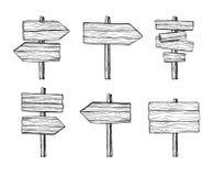 Ręki rysować wektorowe ilustracje Drewniani kierunkowskazy i znak deska Fotografia Stock