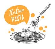 Ręki rysować wektorowe ilustracje Projekta szablon - makaron Italia Obraz Royalty Free