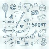 Ręki rysować wektorowe ilustracje Sporta i sprawności fizycznej set Obrazy Stock