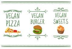 Ręki rysować WEKTOROWE menu ikony: weganinu pizza, hamburger i cukierki, Obrazy Royalty Free