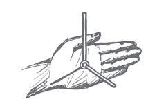 Ręki rysować zegarowe ręki na ludzkiej palmie royalty ilustracja