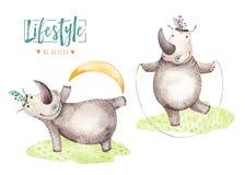 Ręki rysujący akwarela hipopotama zwierzęta Boho pepiniery joga praktyki hipopotama ilustracje, dżungli drzewo, Brazil modny ilustracji