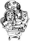 Ręki rysujący azjata buddystów kreskówki wektoru ludzie ilustracja wektor