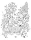 Ręki rysujący doodle konturu Easter jajka w koszu royalty ilustracja