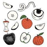 Ręki rysujący jabłka ilustracyjni Zdjęcia Stock