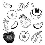 Ręki rysujący jabłka ilustracyjni Zdjęcie Stock