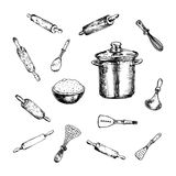 Ręki Rysujący kuchenni akcesoriów doodles ustawiający Nakreślenie stylowe ikony royalty ilustracja