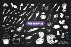 Ręki rysujący kuchenni utencils Kredowe wektorowe ikony royalty ilustracja