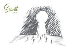 Ręki rysujący ludzie biznesu iść duży keyhole ilustracji