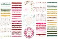 Ręki rysujący muśnięcia, wianku set Barwiony Doodle wystrój ilustracji