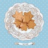 Ręki rysujący nakreśleń ciastka ilustracja wektor