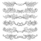 Ręki rysujący rocznik strony dividers z dekoracyjnymi kwiecistymi zawijasami i ślimacznicami Fotografia Royalty Free