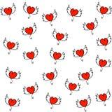 Ręki rysujący serca z skrzydło bezszwowym wzorem ilustracji
