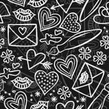 Ręki rysujący szarości miłości doodles na zmroku Zdjęcia Stock