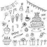 Ręki rysujący urodzin doodles Obrazy Stock