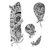 Ręki rysujący wektorowi monochromatyczni piórka kreślą, doodle, stylowych projektów elementów akcyjną wektorową ilustrację Zdjęcie Stock