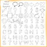Ręki rysujący znaki, symbole i abecadła, ilustracja wektor