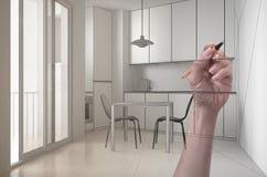 Ręki rysunkowa obyczajowa nowożytna minimalistyczna biała kuchnia Dostosowywający niedokończony projekt architektury wnętrze obraz stock