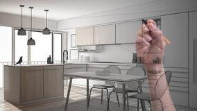Ręki rysunkowa obyczajowa nowożytna minimalistyczna biała kuchnia Dostosowywający niedokończony projekt architektury wnętrze fotografia royalty free