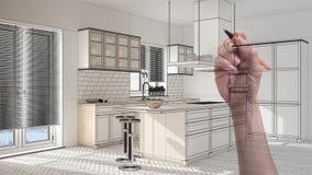 Ręki rysunkowa obyczajowa nowożytna minimalistyczna biała kuchnia Dostosowywający niedokończony projekt architektury wnętrze obraz royalty free