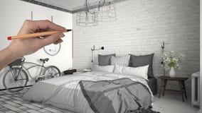 Ręki rysunkowa obyczajowa scandinavian minimalistyczna biała sypialnia Dostosowywający niedokończony projekt architektury wnętrze obraz stock
