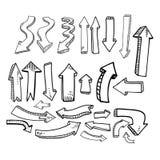 Ręki rysunkowa strzałkowata kolekcja odizolowywająca na prążkowanym papierze ilustracji