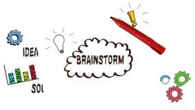 Ręki rysunkowy brainstorm z doodles zbiory wideo