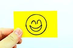 Ręki rysunkowy emoji z emoticon twarzą Fotografia Royalty Free