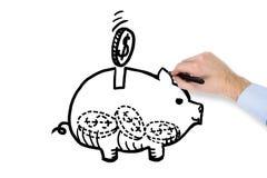 Ręki rysunkowy moneybox Zdjęcia Stock