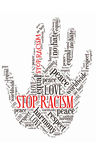 Ręki słowa kolażu pojęcie dla rasizmu fotografia stock
