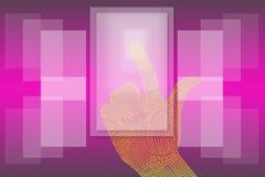 Ręki stuknięcia dotyka Parawanowego tła menchie. Zdjęcia Stock