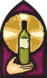 ręki szklany mienie plamił nadokiennego wino Obrazy Royalty Free