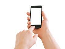 ręki target596_1_ męskiego smartphone Obrazy Stock