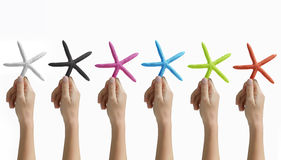 Ręki target1296_1_ barwionej rozgwiazdy Obrazy Royalty Free