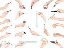 Ręki trzyma biura, materiały, writing i edukaci temat, ja Obraz Stock