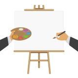 Ręki trzyma farbę i muśnięcie na sztaludze ilustracji