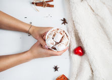 Ręki trzyma gorącej czekolady filiżankę z marshmallow Zdjęcie Royalty Free