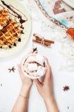 Ręki trzyma gorącej czekolady filiżankę z marshmallow, Belgijski gofr Fotografia Stock