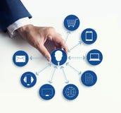Ręki trzyma ikona klienta sieci związek, Omni kanał obraz royalty free