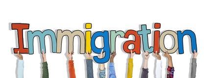 Ręki Trzyma Imigracyjnego słowa pojęcie Obrazy Royalty Free