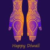 Ręki trzyma Indiańskiego diya, Diwali festiwal Royalty Ilustracja