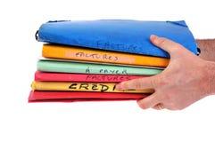 Ręki trzyma kredyt i fakturę segregują piszą w Francuskim ilustracja wektor