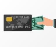 Ręki trzyma pieniądze od kredytowej karty Zdjęcia Royalty Free